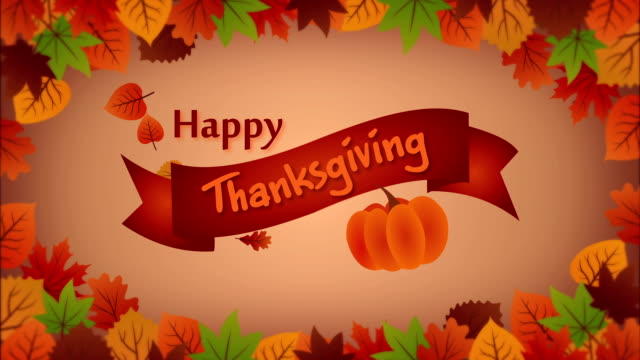 Thanksgiving greeting card with falling leaves and pumpkin video