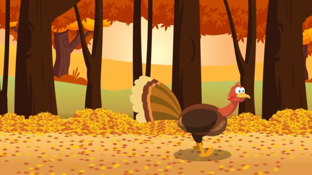 Thanksgiving Turkey Bird Cartoon Character Running In The Forest