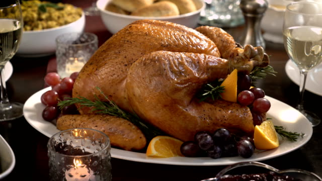 vídeos de stock e filmes b-roll de thanksgiving turkey dinner holiday meal - assado no forno