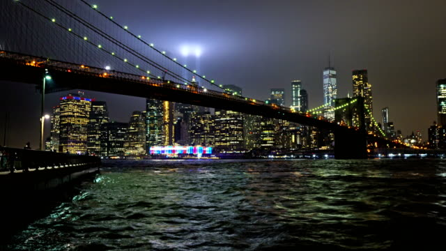 The 9/11 tribute lights. Brooklyn bridge. Manhattan Financial District.