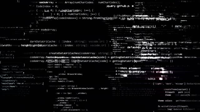 The abstract code moves in the virtual space. looped video