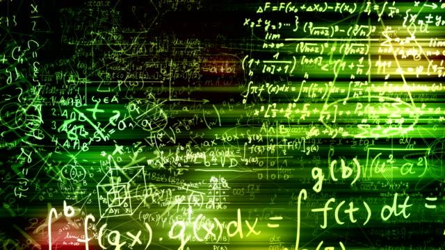 abstrakcyjne formuły matematyczne są przesuwane w przestrzeni wirtualnej. zapętlony - symbol matematyczny filmów i materiałów b-roll