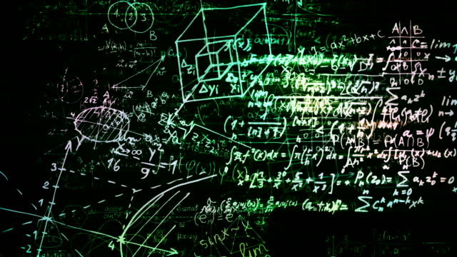The abstract mathematical formulas moves in the virtual space. looped