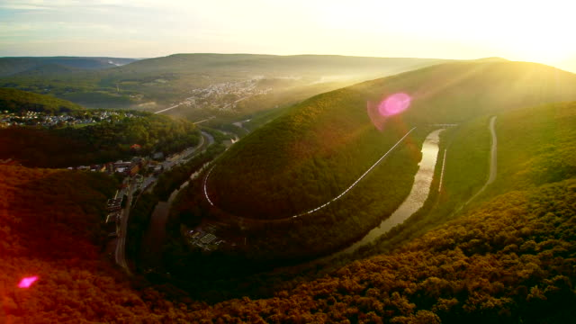 The aerial drone view of the Jim Thorpe (Mauch Chunk) and Lehigh River in Carbon County, Poconos region, Pennsylvania, USA video