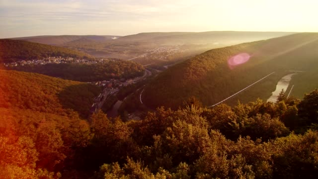 The aerial drone view of the Jim Thorpe (Mauch Chunk) and Lehigh River in Carbon County, Poconos region, Pennsylvania, USA