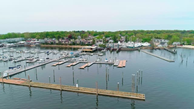 The aerial scenic view on the marina of Port Washington, Long Island, New York, USA (accelerated video)