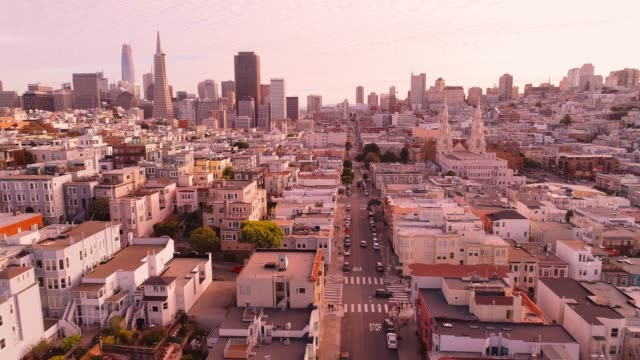 The aerial view of San Francisco Downtown at sunset, over the residential district