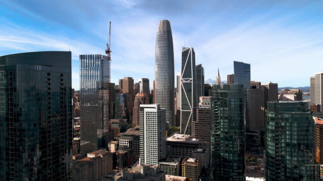 The aerial view of San Francisco Downtown, California - vídeo