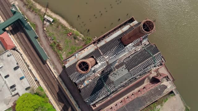 The aerial view of the abandoned factory of New York Central Railroad - Power Plant at the Hudson River in Yonkers. video