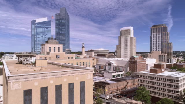 The aerial view of the Downtown of White Plains, the city in Westchester County, New York State, USA. Drone-made video with the ascending camera motion. - vídeo