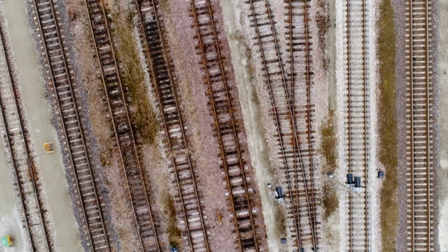 The aerial view of the old rusty rail tracks video
