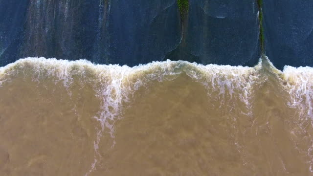 The aerial view of the small dam. video