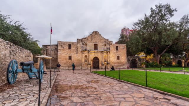 the alamo - motion time lapse - san antonio texas stock videos & royalty-free footage
