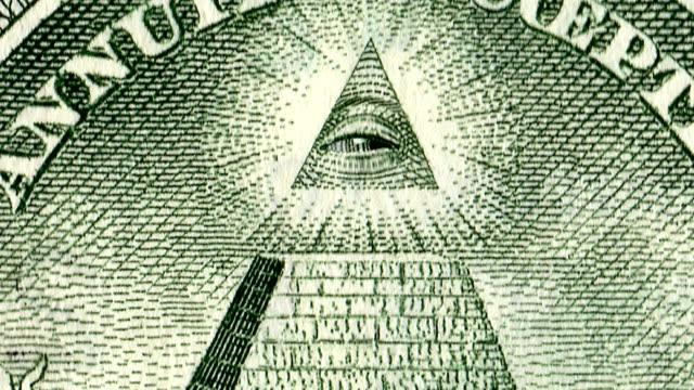 Video 4K. The All Seeng Eye Of Providence On The Reverse Of THe American Dollar.
