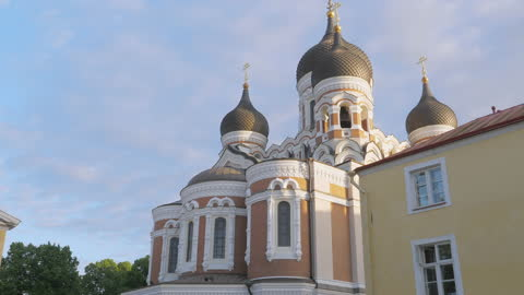 The amazing design of the Alexander Nevsky Cathedral in Tallinn Old Town in Estonia Tallinn.Estonia-July 1.2020: The amazing design of the Alexander Nevsky Cathedral in Tallinn Old Town in Estonia while roaming around the town on a sunny fine weather estonia stock videos & royalty-free footage