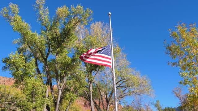 vidéos et rushes de le drapeau américain sur le mât de drapeau est abaissé sur le jour de deuil - abaisser