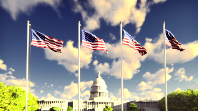 The American flags flutters in the wind on a sunrise against the blue sky and the Capitol. The symbol of America and the American national holiday. The American flags flutters in the wind on a sunrise against the blue sky and the Capitol. The symbol of America and the American national holiday. In 4k. circa 4th century stock videos & royalty-free footage
