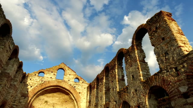 nessebar, bulgaristan antik kilise st. sophia (stara mitropolia) kalıntılar. - unesco stok videoları ve detay görüntü çekimi