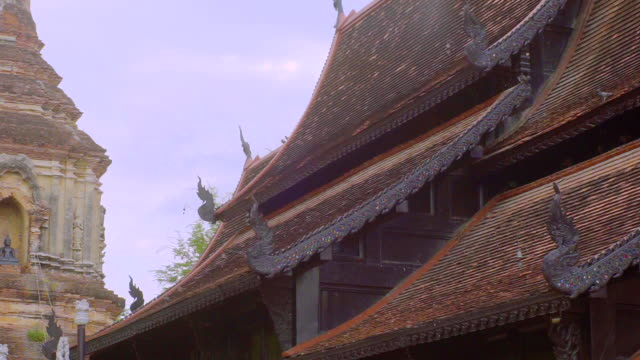 The ancient roof architecture of Wat Lok Molee is a Buddhist temple in Chiang Mai, northern Thailand.