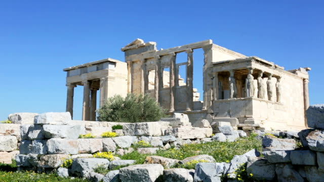 The ancient temple Erechtheion on the Acropolis, Athens, Greece video