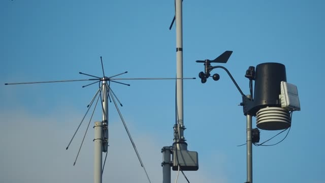 The anemometer measures wind Weather station airfield stock videos & royalty-free footage