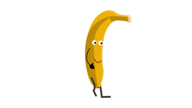 バナナのアニメーション。バナナは徒歩 - バナナ点の映像素材/bロール