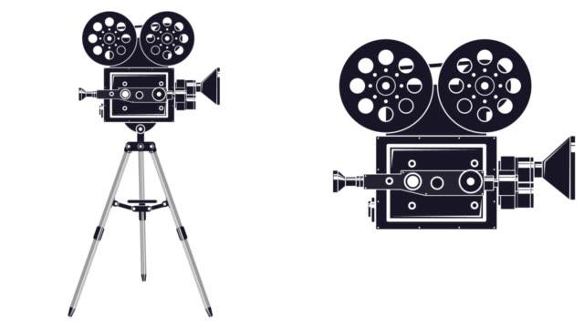 the animation of the camera - bobina apparecchiatura di registrazione del suono video stock e b–roll