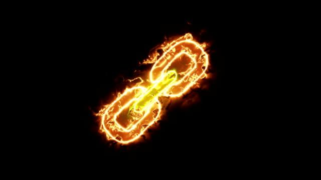 輝くオーラで接続チェーンの符号アイコンのアニメーション - 鎖の輪点の映像素材/bロール