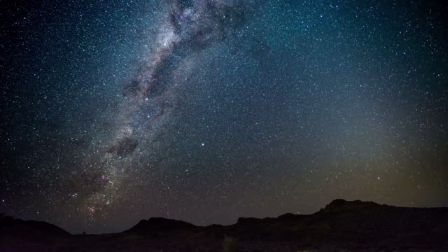 The apparent rotation of an outstandingly bright Milky Way and starry sky beyond mountain of the Namib desert, Namibia. Time Lapse video. video