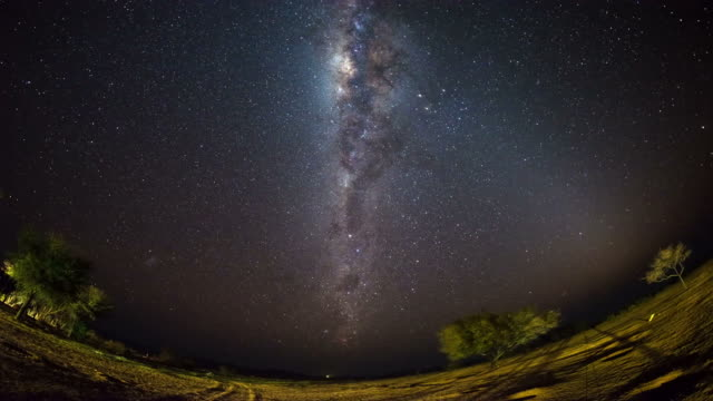 The apparent rotation of an outstandingly bright Milky Way and starry sky beyond mountain of the Namib desert, Namibia. Fish eye view. Time Lapse video. video