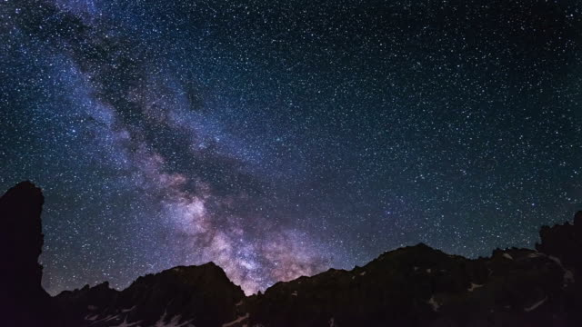 The apparent rotation of an outstandingly bright Milky Way and the starry sky beyond snowcapped mountain ridge, captured at high altitude in summertime on the Italian Alps. Time Lapse video. video