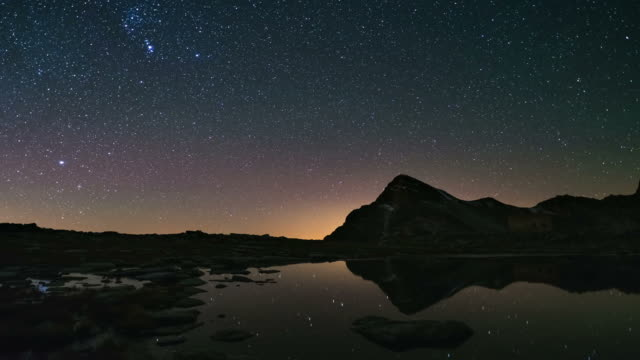 The apparent rotation of the Milky Way and the starry sky beyond snowcapped mountain ridge, reflected on idyllic apine lake. Time Lapse video. video