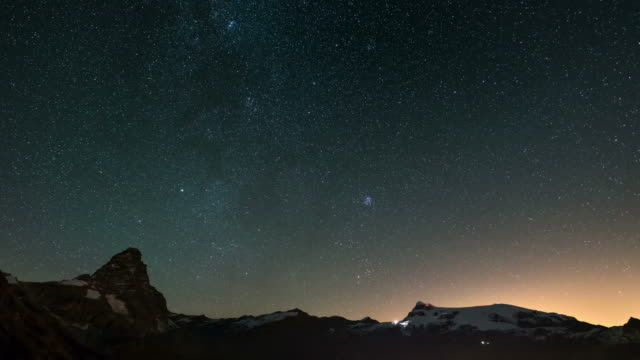 The apparent rotation of the starry sky over the majestic Matterhorn or Cervino mountain peak and the Monte Rosa glaciers, italian side. Time Lapse 4k video. video