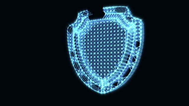 vídeos y material grabado en eventos de stock de la aparición de un signo de protección. icono de seguridad de internet digital. animación de una idea abstracta. un símbolo brillante sobre un fondo oscuro - shield