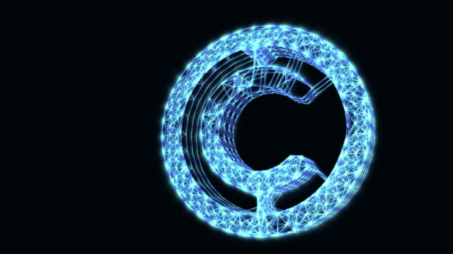 The appearance of the copyright sign. Icon digital internet intellectual property. Animation of abstract idea. Glowing symbol on a dark background.