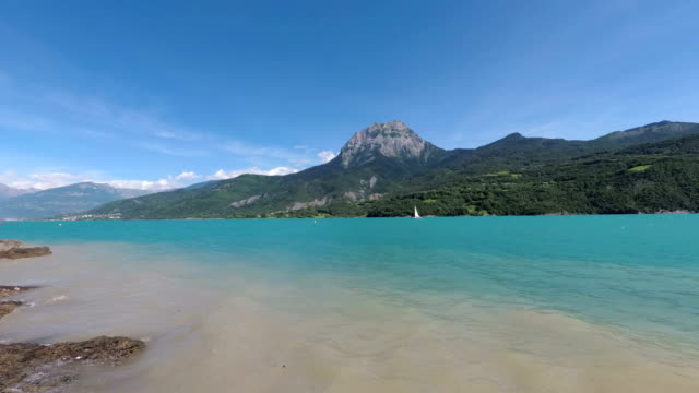 the artificial lake serre-poncon in the french alps. the lake water is used for irrigation of agricultural fields. - hautes alpes stock videos & royalty-free footage