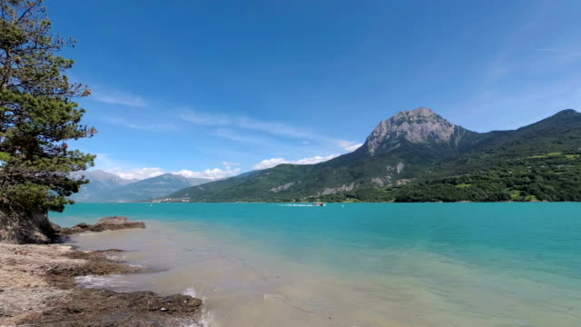 the artificial lake serre-poncon in the french alps. - hautes alpes stock videos & royalty-free footage