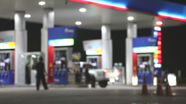 The Atmosphere Lighting Blurred in Gas station at night video