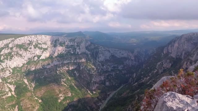 The attractions of Provence - the Verdon gorge. The camera rotates smoothly from right to left. France.