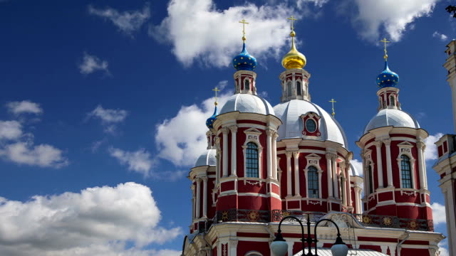 the baroque church of saint clement in moscow, russia. this large ecclesiastical complex was built in the 18th century. - church architecture stock videos & royalty-free footage