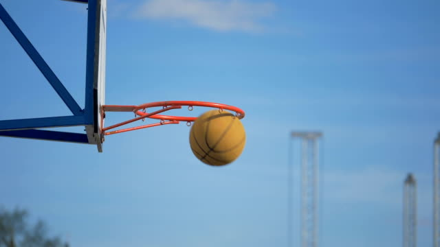 The basketball ball flies into the basket - slowmotion 180 fps video