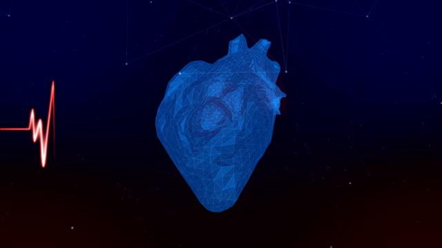 takten i ett mänskligt digitalt hjärta med en puls linje. medicin teknik. alfakanal - människohjärta bildbanksvideor och videomaterial från bakom kulisserna