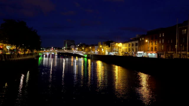 The beautiful Dublin city taken at night video