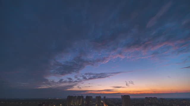 The beautiful evening sky flowing over the city landscape. time lapse