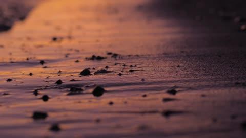 vídeos de stock e filmes b-roll de the beautiful mediterranean beach of croatia with a golden sunset. - areia