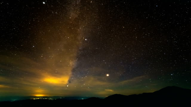 The beautiful meteor shower above mountains. time lapse