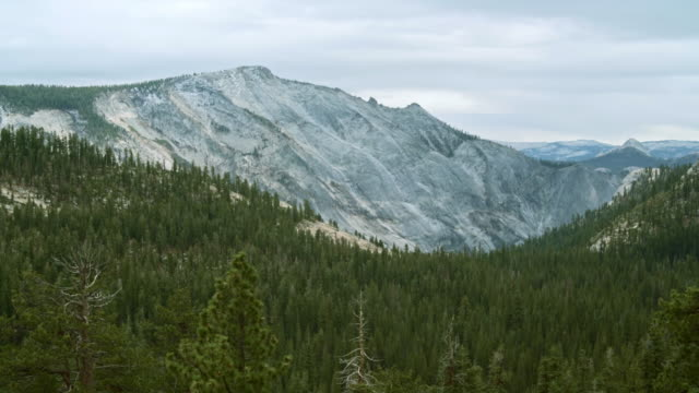 The beautiful panoramic view to the remote mountain's peaks from the Tioga Pass Road in Yosemite National Park video