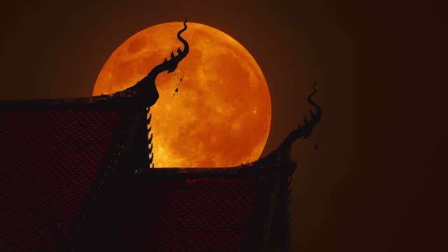 The Beautiful roof of thai temple in full moon night video