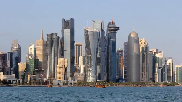 The beautiful skyline of the doha city with many Skyscraper and buildings.