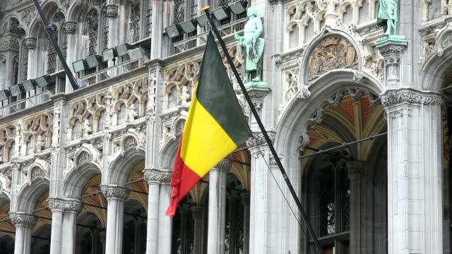 la bandiera belga che sventola - belgio video stock e b–roll